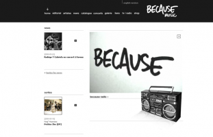 Because - Site du label Because Music - developpeur back-office ajax