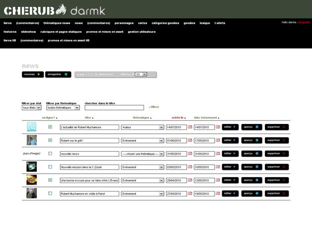 Back-office commun aux deux sites, liste des news